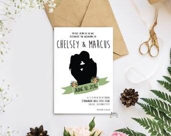 SAMPLE// Silhouette Wedding Invitation, Wedding Invitation, Wedding Suite, Romantic Couple