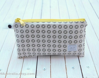 Small Wet Bag. Cosmetic Bag. Makeup Bag. Toiletry Bag. Happy Little Handmades.  Grey Checks with Yellow Zipper