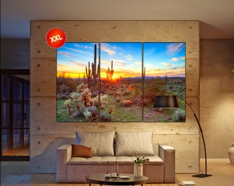 Sonoran Desert large canvas wall art decor print Saguaros, in Sonoran Desert prints large prints living room wall art Office Decor