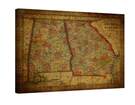 LARGE wrapped stretched old Alabama map Georgia map  canvas wall art ,Giclee Art fine art