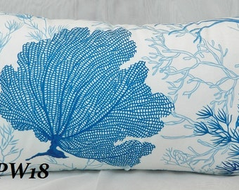 THIBAUT Morokini Decorative pillow cover lumbar Pillow Cover with Blue and White Coral Patterned Cotton Fabric / Both Sides