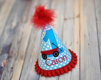 Little Red Wagon Party Hat - Aqua Dots with Turquoise and Little Red Wagon - Birthday Party Cake Smash Outfit - Radio Flyer