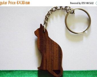 ON SALE, 5% OFF Wooden Cat Keychain, Walnut Wood, Animal Keychain, Environmental Friendly Green materials