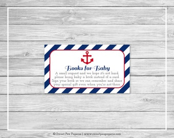 Nautical Baby Shower Book Instead of Card Insert - Printable Baby Shower Books for Baby - Navy Red Baby Shower - Books for Baby Cards- SP118