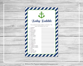 Nautical Baby Shower Baby Babble Game - Printable Baby Shower Baby Babble Game - Navy Green Baby Shower - Baby Babble Word Scramble - SP120