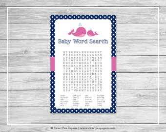 Whale Baby Shower Baby Word Search Game - Printable Baby Shower Word Search Game - Pink Whale Baby Shower - Baby Word Search - SP128