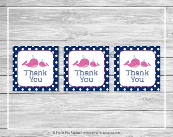Whale Baby Shower Favor Thank You Tags - Printable Baby Shower Thank You Tags - Pink Whale Baby Shower - Whale Favor Tags - SP128
