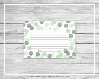 Mint and Silver Baby Shower Thank You Cards - Printable Baby Shower Thank You Cards - Mint and Silver Baby Shower - Thank You Cards - SP125