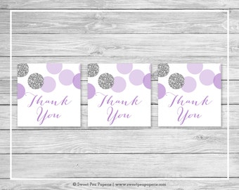 Purple and Silver Baby Shower Favor Thank You Tags - Printable Baby Shower Favor Tags - Purple and Silver Baby Shower - Favor Tags - SP126