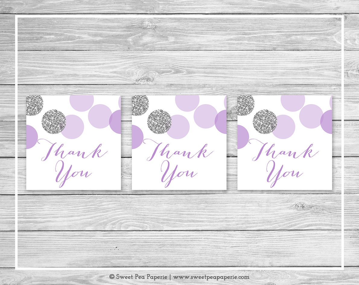 Purple Tag: Purple And Silver Baby Shower Favor Thank You Tags Printable