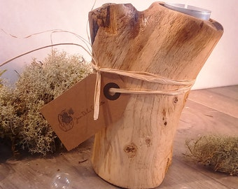 Raw wood candle holder