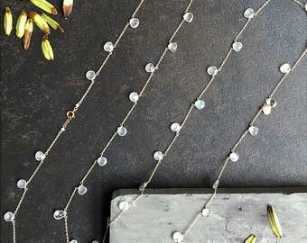 Moonstone Pendant Necklace - Moonstone Necklace Gold, Gold layered Necklace, Long Layered Necklace, June Birthstone Necklace, Long Necklace
