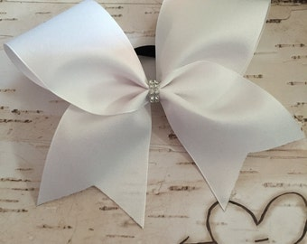 Classic, White Cheer Bow, Simple Bow, Cheap Cheer Bow, Bling, cheerleader, cheerleading, solid color bow