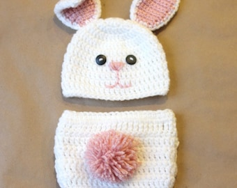 Bunny Hat and Diaper Cover Set