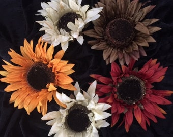 Fabric Sunflower Embellishment  for Scrapbooking, Cardmaking......
