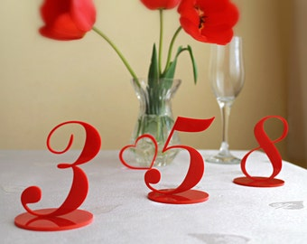 Wedding Table Numbers, Table number card holders, Table number ideas, Wedding Table Number Signs,  Laser Cut Acrylic Table Numbers,