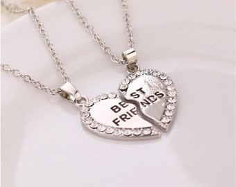 Sale Silver Best Friends Splice Heart Pendant Necklace Fashion Jewelry Expires Today