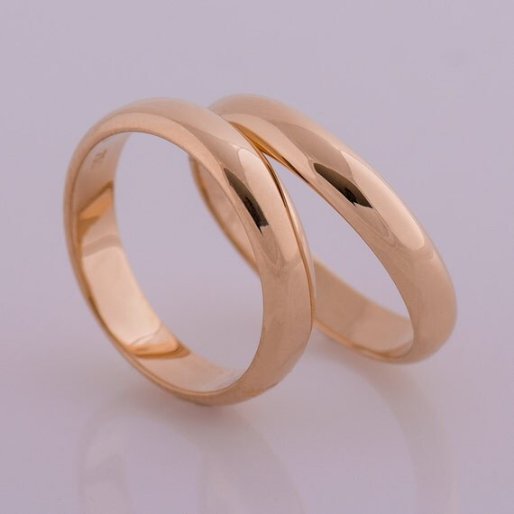 Delicate His And Hers Wedding Bands 18K Rose Gold Wedding