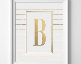 Gold Monogram Print, Personalized Letter, Custom Letter, Gold Nursery Print, Dorm Decor, Baby Room Art, Gold Foil Print, Gold Glitter Print
