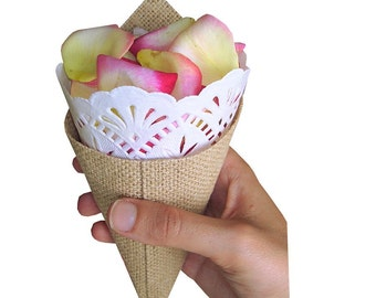 Cone for rose petals made of jute with blonde 20 cm Burlap cone with paper doily 7, 8inches jute cone cone confetti rose petal cone