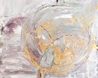 12x12 white ABSTRACT acrylic cirlcles gold leaf