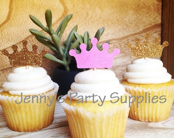 Pink and Gold Crown Crown Toppers, Princess Cupcake Toppers, Tiara Cupcake Toppers, Pink and Silver Crown Toppers