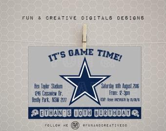 Dallas Cowboys inspired invitation