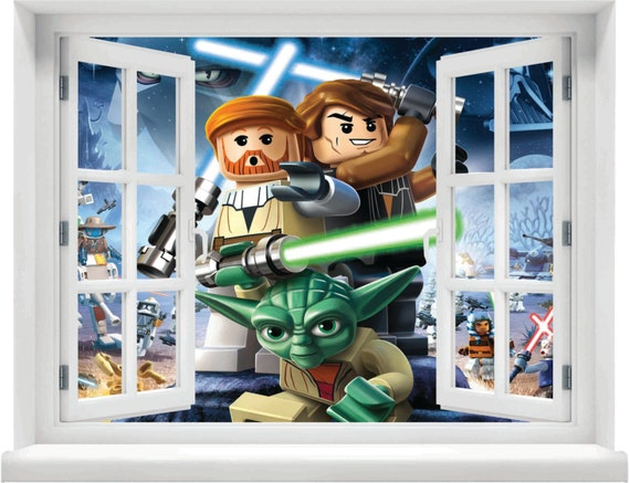 window with a view lego star wars wall mural. Black Bedroom Furniture Sets. Home Design Ideas