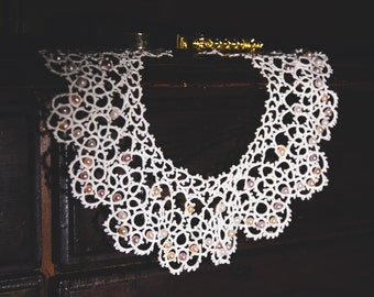 white tatting tatted necklace with pearls