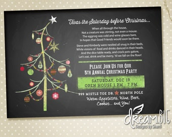 Funny Poem Christmas Party Invitation - Printable - Digital - Holiday Party