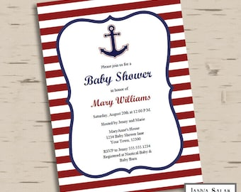Nautical Anchor Baby Shower Printable Invitation Blue and Red Editable Diy INSTANT DOWNLOAD PDF
