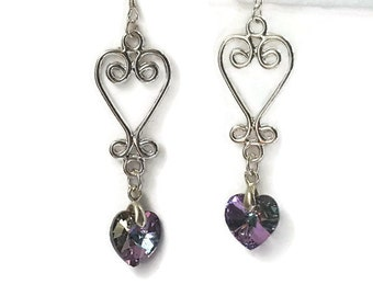 Silver chandelier earrings  lilac Swarovski heart handmade jewellery