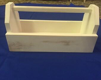 Wooden tool box antique white