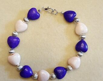 Purple & White Heart Bracelet