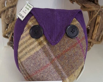 Tartan owl doorstop