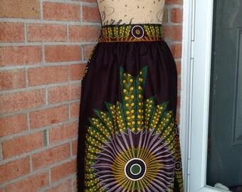 Maxi Skirt, Skirt, long Skirt, Gathered Waist Skirt, African Print Skirt,