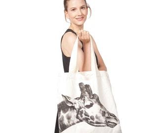Cotton Canvas Giraffe Tote Bag