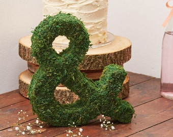 Moss Ampersand, Moss Letters, Rustic Wedding Decoration, Top Table  Decorations, Moss And