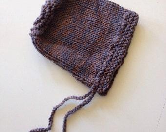 Hand knit cotton/wool bonnet 6-24m