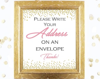 Bridal Shower Game Sign - Write Your Address on an Envelope - Coral and Gold - Instant Printable Digital Download - diy Bridal Shower Print