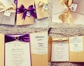 Stephanie Ivory Gold purple Invites