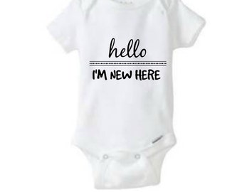 Hello I'm New Here Baby Onesie