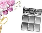 Monochromatic Habits Trackers -- Matte Planner Stickers