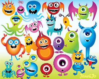 23 Monster Cliparts 15 Backgrounds,Monster clipart with digital background,Monster clipart,Monster printable cake topper,Monster clipart boy