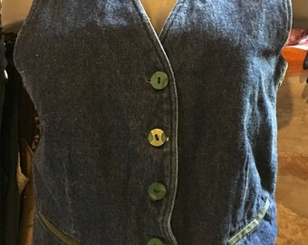 1990's denim vest, green cotton back. Size S.