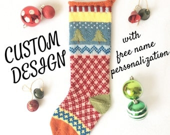 Hand Knit Christmas Stocking - Custom Designed & Personalized With Name