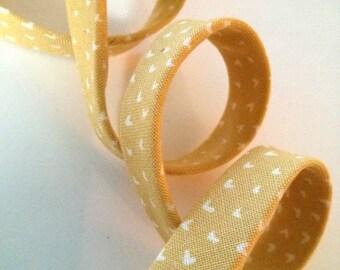 "Mini Hearts on Gold Yellow Mustard Dear Stella Double Fold Bias Tape - 3 yards, 1/2"" wide"