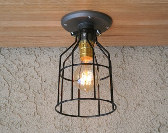 Cage ceiling light, Industrial Ceiling Light, Sconce Lighting,Wall Mount Lighting, Edison Bulb Lighting
