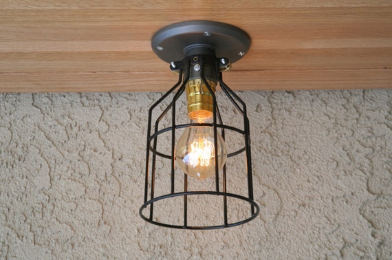 Ceiling Or Wall Light With Cage : Cage ceiling light Industrial Ceiling Light Sconce
