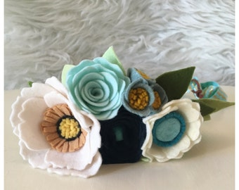 WOODLAND CROWN // Felt Flower Crown // Fairy Crown // Floral Crown // Poppies + Roses //  Midnight Blue + Artic Mint